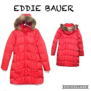 EDDIE BAUER- premium red down, longer length parka